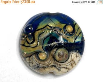 ON SALE 30% off Transparent Ink Blue w/Free Style Lentil Focal Bead - Handmade Glass Lampwork Bead 11815702