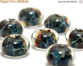 ON SALE 30% off Seven Blue/Multi-colors Borosilicate Rondelle Beads - Handmade Glass Lampwork Bead Set 10409501