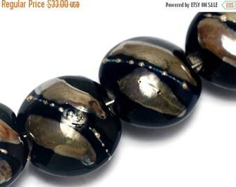 ON SALE 30% off Four Elegant Black Metallic Lentil Beads - Handmade Glass Lampwork Beads Set 10204112