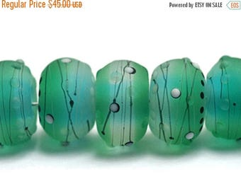 ON SALE 30% off NEW! Handmade Glass Lampwork Bead Set - 10508801 Seven Emerald City Rondelle Beads