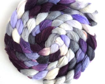 Organic Polwarth/Cultivated Silk Roving - Handpainted Spinning or Felting Fiber, Winter Fancy