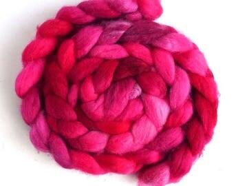 Hot Pink, Shetland Roving - Handpainted Spinning or Felting Fiber