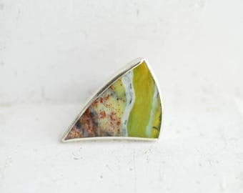 Green Opal Ring, Silver Cocktail Ring, Apple Green Jewelry, Geometric Bold, Large Statement, Rings for Women, Silver Triangle Arrow