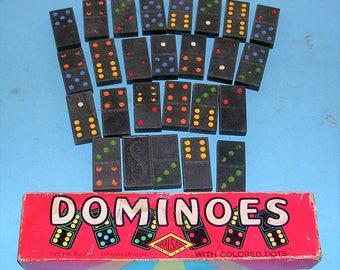 Vintage Dominoes Vintage Dominoes With Colored Dots In Original Box