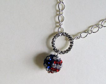 4th of July Necklace, Red, White and Blue Pave Necklace, Patriotic Necklace, Red White n Blue Silver Necklace