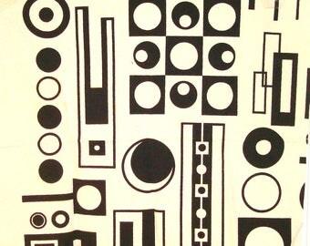 "Sale! 25"" x 28"" unused fabric Melinamade Original Screenprinted Fabric Midcentury Modern Design Barkcloth."