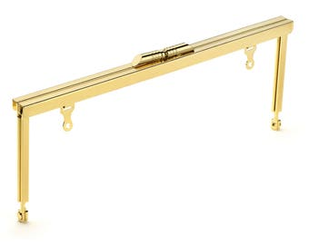 """50pcs - 8"""" x 3"""" Gold Purse Frame with Modern Style Clasp and Chain Loops - Free Shipping (PURSE FRAME FRM-121)"""
