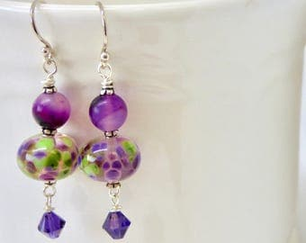 Purple and Green Earrings, Modern Lampwork Glass Earrings, Purple Hollow Earring, Ultra Violet and Green Jewelry, Valentine Gift for Her