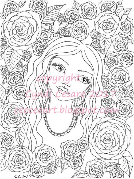 Coloring Book Page CeeCee's Flower Girls Adult Coloring Page