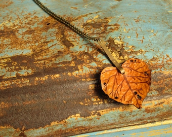 Leather Leaf Necklace Pendant Necklace Aspen Leaf Handmade Brass Stem