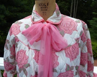 Vintage Quilted Pink Rose Robe