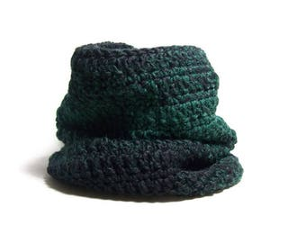 Tube Scarf - Crochet Neck Warmer - Hipster Scarf - Winter Cowl - Forest Green - Gift For Her - Ready To Ship