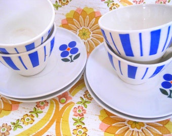 Set of 4 Vintage 70s Flower Cups, Blue Stripes, Colourful Cups, Medium sized,  French Vintage, 1970s China, Espresso, Birthday Gift