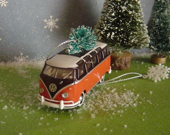 VW 1959 Microbus Deluxe Van car with Christm tree ornament