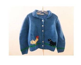 Vintage 50s Girls Sweater Blue Rooster Scotty Dog Cardigan Starrett