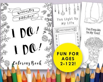 Wedding Day Coloring Book Printable Pages Instant Download Perfect Favor