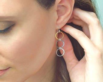 Valentine's Day gift mixed metal earrings Sterling silver and gold vermeil long hoop earrings