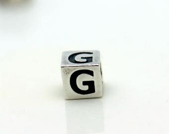 Sterling Silver Alphabet G Block Cube Square Bead 4mm