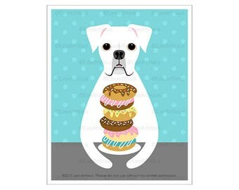 223D Dog Art Prints - White Boxer Eating Donut Wall Art - Donut Print - Donut Art - White Boxer Print - Dog Print - Kitchen Decor