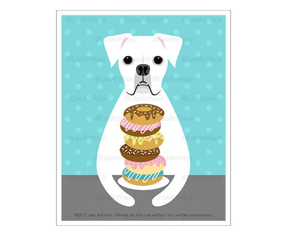 223D Dog Art Prints - White Boxer Eating Donut Wall Art - Donut Print - Donut Art - White Boxer Print - Dog Print - Kitchen Decor