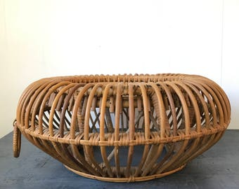vintage rattan pouf - Franco Albini style bentwood ottoman - coffee side table - bohemian furniture