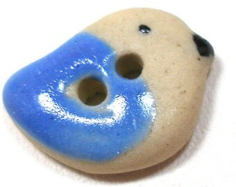"Tiny Ceramic BIRD Button, Handmade songbird in blue, 1/2""."
