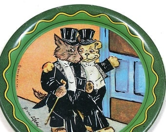 1960s Tin litho Toy Tea Plate, Dogs in tuxedos. Lithographed coaster.