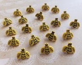 """Yellow Tiny Bee Buttons - Little Bees - Shank Sewing Button - 1/2"""" Wide - 20 Buttons"""