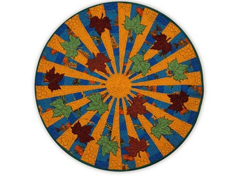 Handmade Round Table Topper Quilted Patchwork With Appliquéd Maple Leaves Warm Colors Free USA Shipping