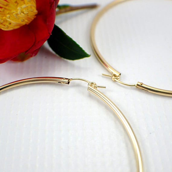 70mm 14k gold filled hoop earrings extra large size 2 75 inch 2mm