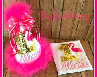 FLAMINGO Birthday Hat, and Bib, 2pc. Set, Flamingo 1st Birthday Hat, Flamingo Bib,  You choose colors,  by GINGHAM BUNNY