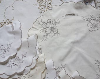 collection vintage embroidered doilies