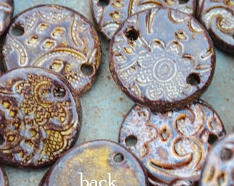 2 Copper Pottery Pendants or Beads