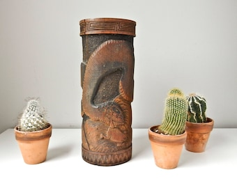 Antique Japanese Brush Pot, 12' Bamboo Vase, Snake Frog, Asian Carved Vase, Bamboo Brush Holder