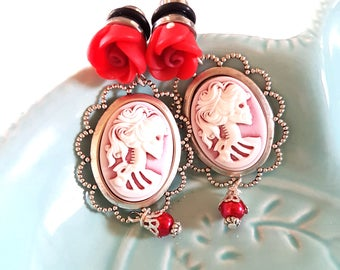 0g 8mm Red Rose Skeletina Cameo Dangle Plugs for Stretched Ears-Piercing-Surgical Steel-316L-Gothic Wedding Plugs-Fancy Girly Skull Plugs