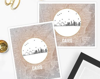 Cairo/Giza, Egypt - Africa - Instant Download Printable Art - Vintage City Skyline Map Series