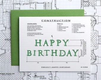 Project Happy Birthday (Green) - Instant Download Printable Art - Construction Series