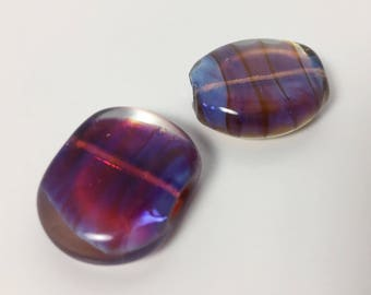 Hand Made Lampwork Glass Large Focal Beads - Unusual Wavy Design - Blue Pink Magenta - Flat Oval Bead - Destash