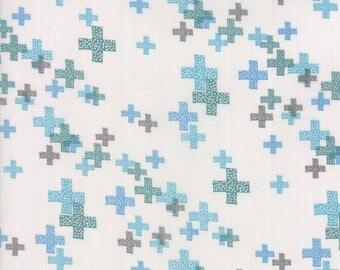 MODA Modern BG Background Colorbox Geometric Pluses Fog Turquoise Teal 1644 15 Yardage by Brigitte Heitland of Zen Chic