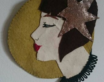Star Flapper Embroidered Applique Wall Hanging
