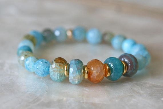 Teal and Orange Crackle Agate Bracelet