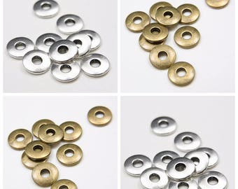 10pcs Antique Brass Tone Oxidized Silver Tone Base Metal Spacers-Disk 14mm with 4mm Hole (9202Y)(E-23B)(E-22A)