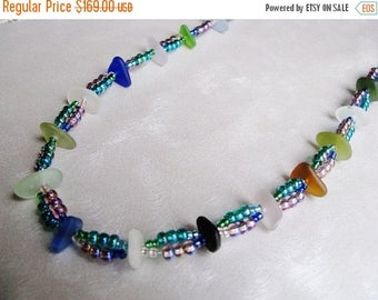 SEA GLASS SALE Showstopper Necklace - Whimsical Beach Glass Necklace - Assorted Sea Glass Colors Necklace - Beaded Showstopper Necklace