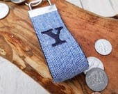 Mini KeyFob, Mini Key Fob, Man Key Fob, Keychain Men, Keyring, Key Ring, Personalized Key Chain, Unisex Fob, Monogram Fob Blue Herringbone