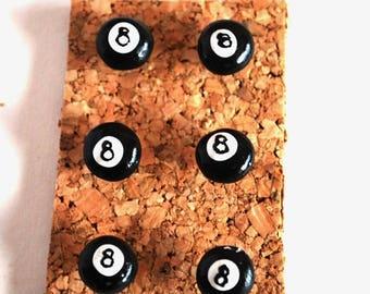 Decorative Pushpins, Home Decor, Office Decor, Thumbtacks, Thumb tacks, Push pins, Pushpins, 8Ball Pushpins, 8ballThumbtacks