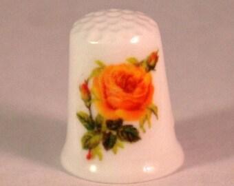 Collectible Thimbles, China Thimble, Handmade Thimble, Thimble Collection, Yellow Rose Thimble, Flower Thimble