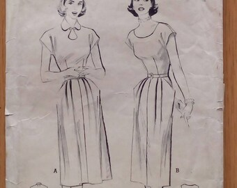 "1950s Dress - 32"" Bust - Butterick 5671 - Vintage Sewing Pattern"