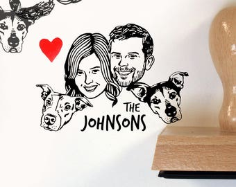 Custom family portrait Personalized gift for pet lovers Holiday Greetings cards Illustrated return address stamp up wedding birthday dog