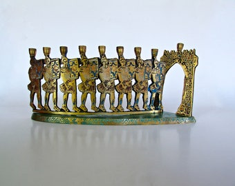Hen Holon The Maccabees Design, Dayagi Brothers, Chanukkah Menorah Israel Judaica, Fantastic Enameled Brass Brutalist Middle Eastern Design