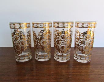 Culver Highball Glasses - 22kt Gold encrusted - Set of 4 MCM Barware